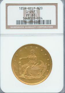 J-257 1859 $20 Gilt N PF-63 Copper R6 Slab