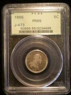 J-473 1866 Washington $.05 Pattern PR-65 Obv